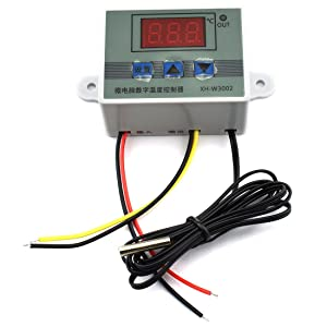 HJ Garden XH-W3002 Mini Thermostat DC 12V 10A Digital LED Temperature Controller -50 to 110 Degree Heating/Cooling Temperature Control Switch with Waterproof Sensor Probe