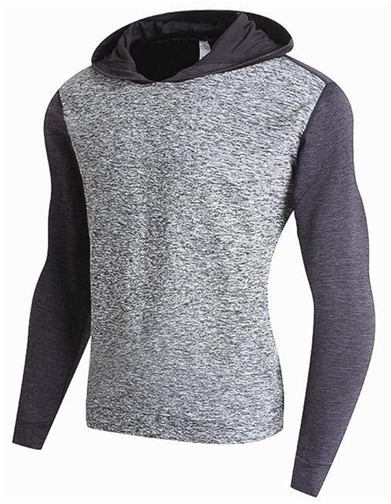 JuJuTa Mens Athletic Contrast Color Gym Fleece Pullover Hooded Sweatshirts