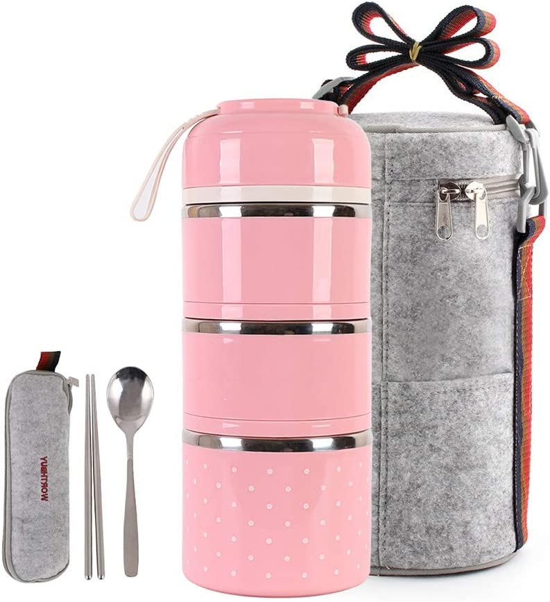 HOMESPON Lunch Box Stainless Steel Bento Box Insulated Lunch Bag Food Container Storage Boxes with Cutlery for Kids Children Teenager Adults Office School Camping (pink-3 tiers)