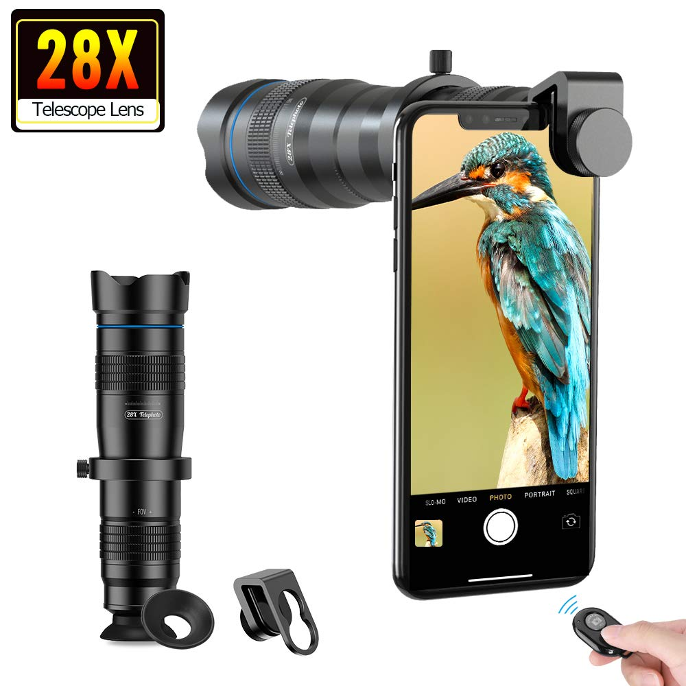 Apexel Phone Camera Lens 28X Zoom Telephoto Lens with Remote Shutter for Bird Watching Works with iPhone Samsung Pixel Android Any Smartphones by MIAO LAB