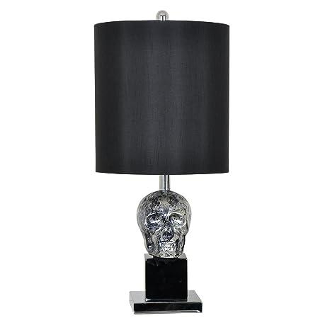 Amazon.com: Negro Antiqued Cráneo lámpara de mesa sobre ...