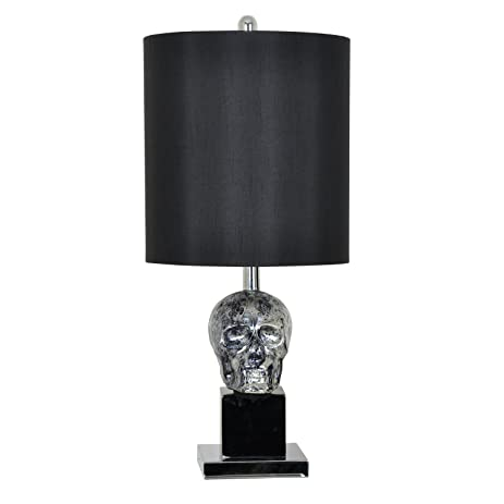 Crestview collection black skull sculptural glass table lamp