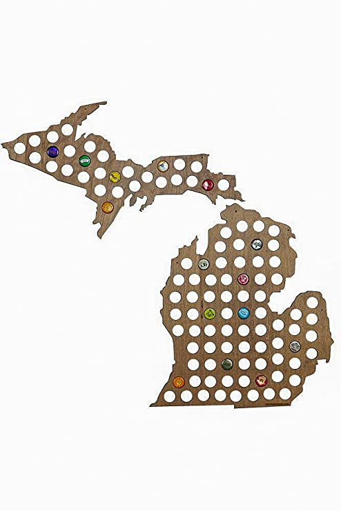 Amazoncom Michigan Shaped Beer Cap And Bottle Cap Map Bar Tools - Michigan bottle cap map