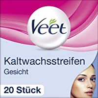 Veet Kaltwachsstreifen (mit Easy-Gelwax Technology, für das Gesicht, geeignet für sensible Haut, Bis zu 28 Tage glatte Haut, 10 x Doppelstreifen