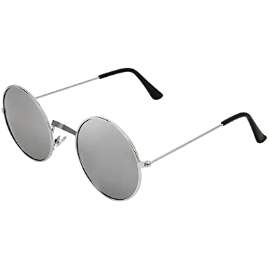 d817a44ba23 Dervin Gandhi Round Shape Silver UV Protection Sunglasses Frame For Men    Women (Silver Shades)  Amazon.in  Clothing   Accessories