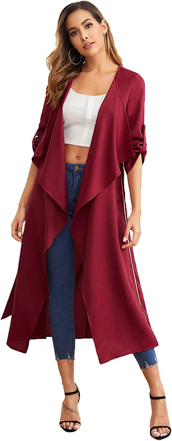 Milumia Womens Waterfall Collar Back Tie Wrap Long Trench Cardigan Jacket Duster Coat Outerwear