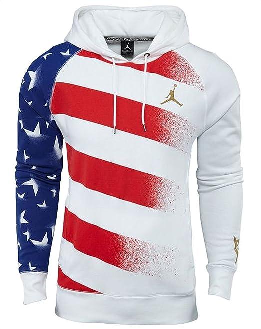 7ec33802394c Jordan Nike AJ 7 VII Olympic Stars and Stripes Men s Hoodie (White Gold