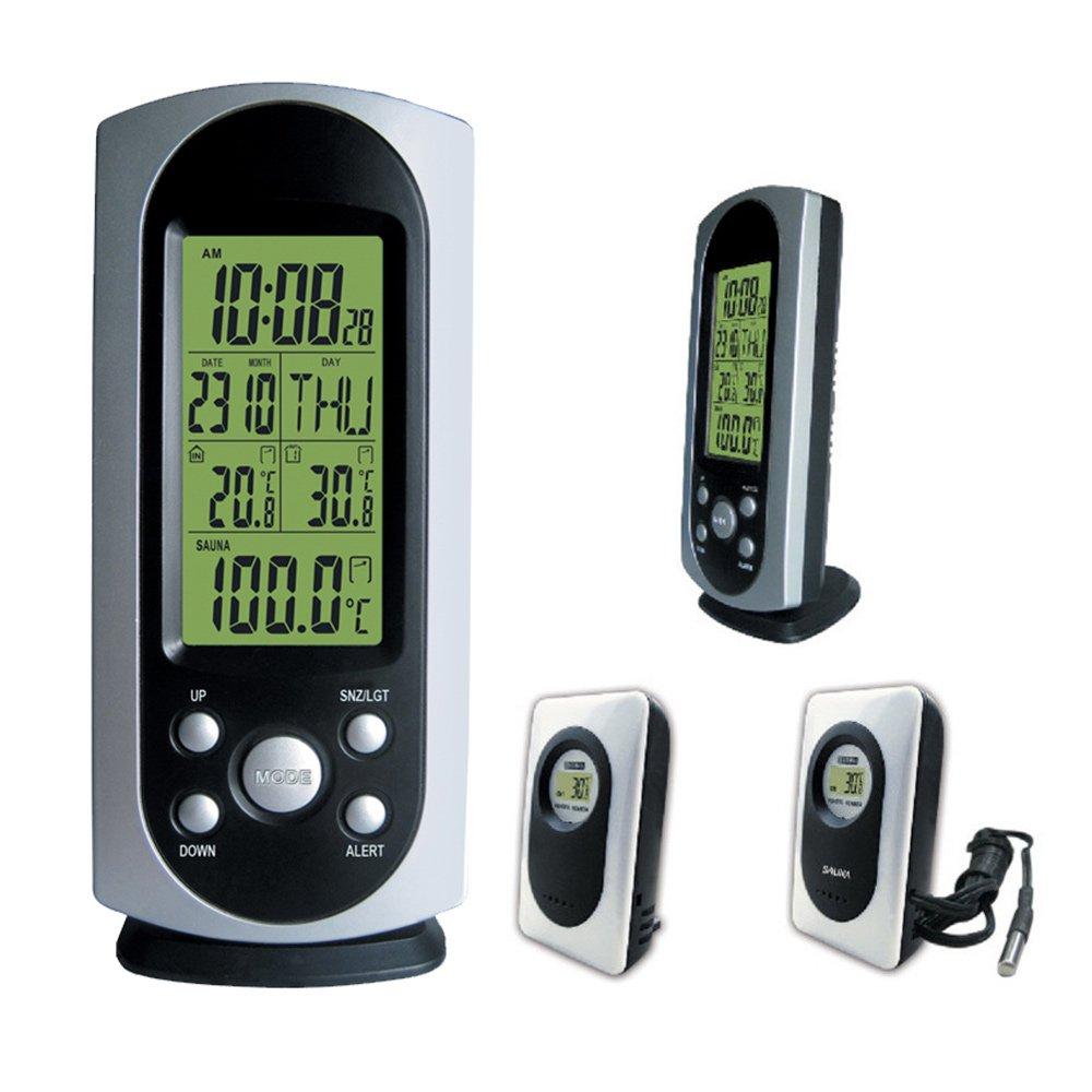 C85845 Wireless Weather Station 01036M with Indoor Ourdoor Sauna Thermometer TP60 Remote Sensor Digital Alarm Clock wishyhihi