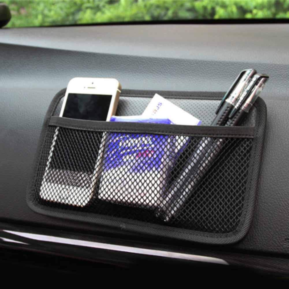 Car Storage Net Pocket Car Inside Car-mounted Mobile Phone Paste Type Net Pocket Black Built-in Cotton Pad For Steering Wheel Instrument Panel Bridge Box Gear Door