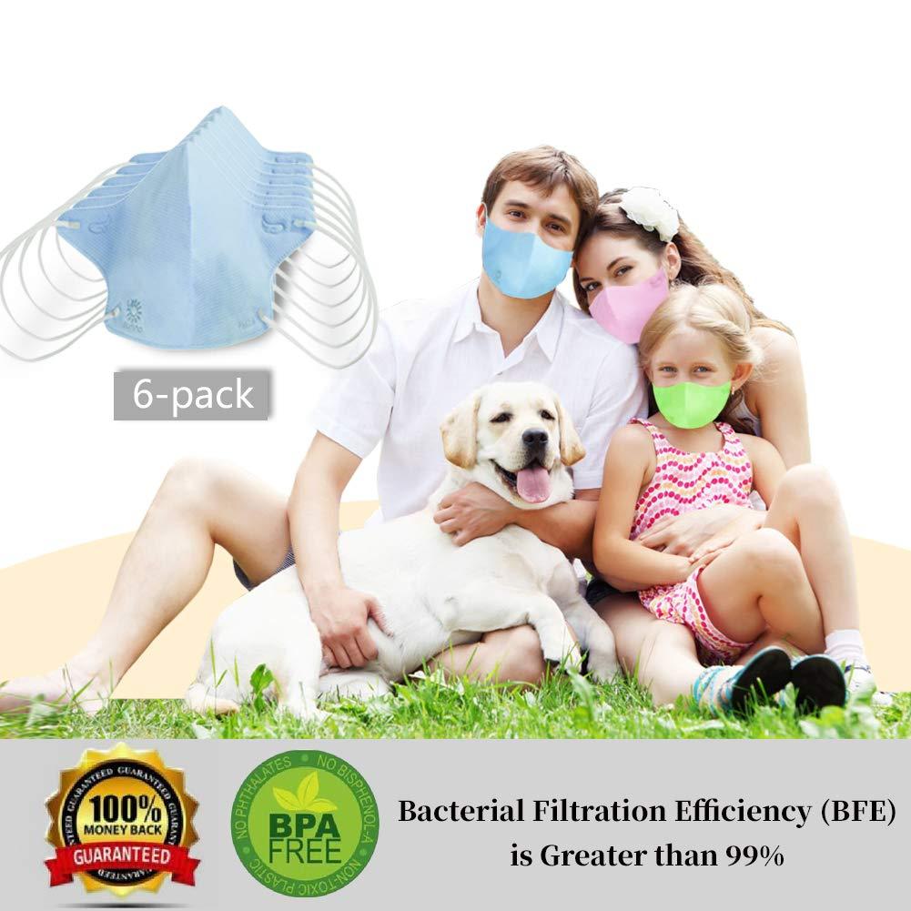 Sunna 3D Nano Masks Dust Allergy Flu Masks Breath Healthy Safety Respirator Warm Ski Cycling Half Face Mouth Masks Filters Dust Pollen Allergens Flu Germs Home Surgical Masks (8 Pcs ) (blue)