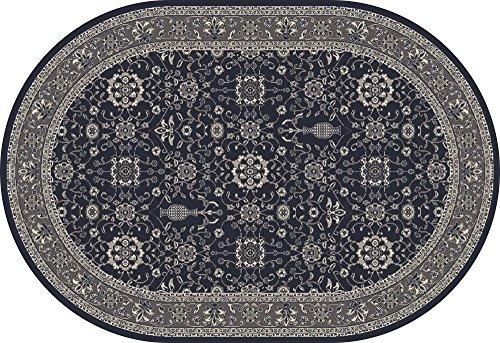 Art Carpet Kensington Collection Serene Border Woven Oval Area Rug, 4' x 6', Navy/Gray (Serena Rug Collection)
