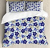 Hawaii King Size Duvet Cover Set by Ambesonne, Tropical Climate Foliage Hibiscus Abstract Nature Exotic Plumeria, Decorative 3 Piece Bedding Set with 2 Pillow Shams, Indigo Pale Yellow Pale Blue