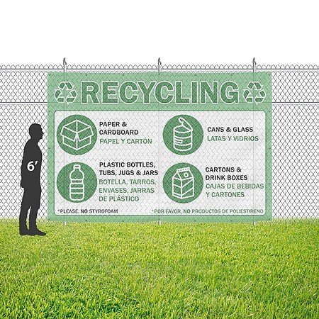 Amazon.com : CGSignLab |Recycling -Bilingual -Green 9oz. Wind-Resistant Outdoor Mesh Vinyl Banner with Reinforced Hems & Metal Grommets | 12x8 : Office ...