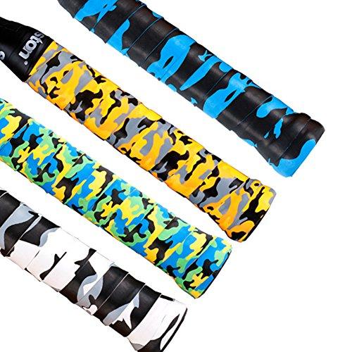 Senston 4er Pack Anti-Rutsch Perforiert Saugfähig Camouflage Griffbänder/Overgrip/Grip für Tennis/Badminton/Squash