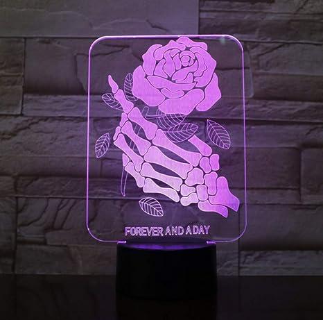 Forme Humour De Lumière Crâne Lampe 3d En Led Doigts Veilleuse Rose CeWEQrxoBd