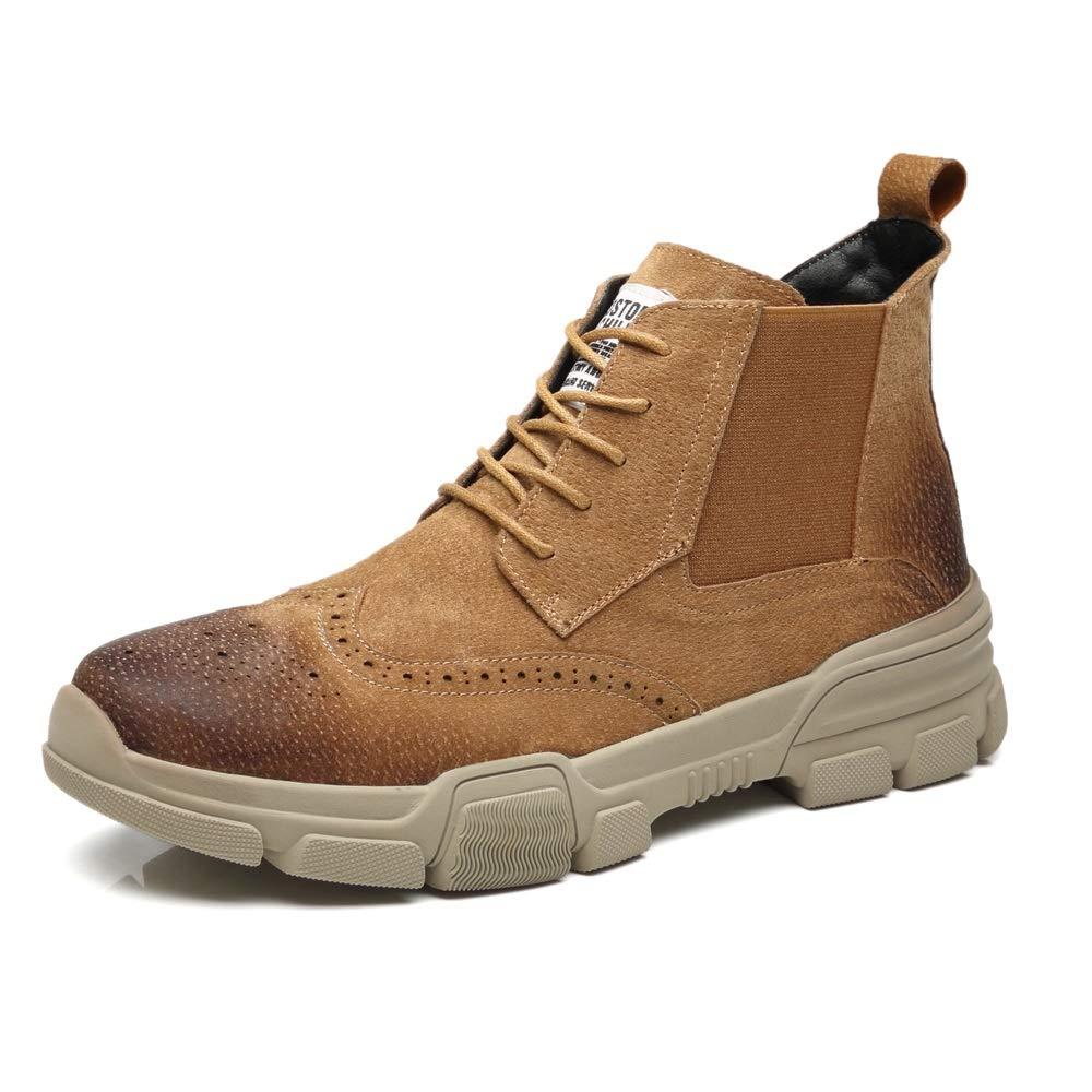 HILOTU Herrenmode Brogue Style Combat Chukka Stiefel Lace Up Echtes Echtes Echtes Leder Laufsohle Ankle Military High Top Arbeitsschuhe (Farbe   Braun, Größe   40 EU) 82d3f9