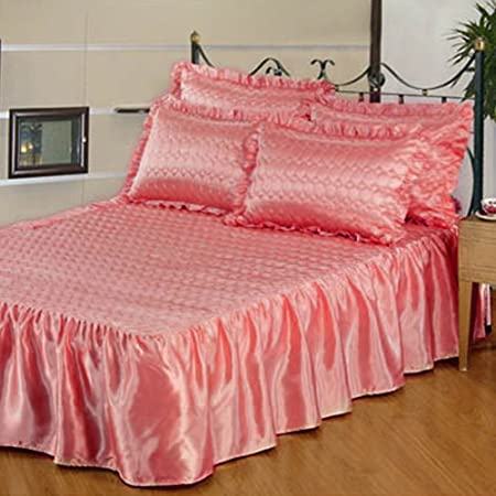 Beautiful Tony's Textiles Pink Quilted Satin Bedspread & Pillowsham(s  WG79