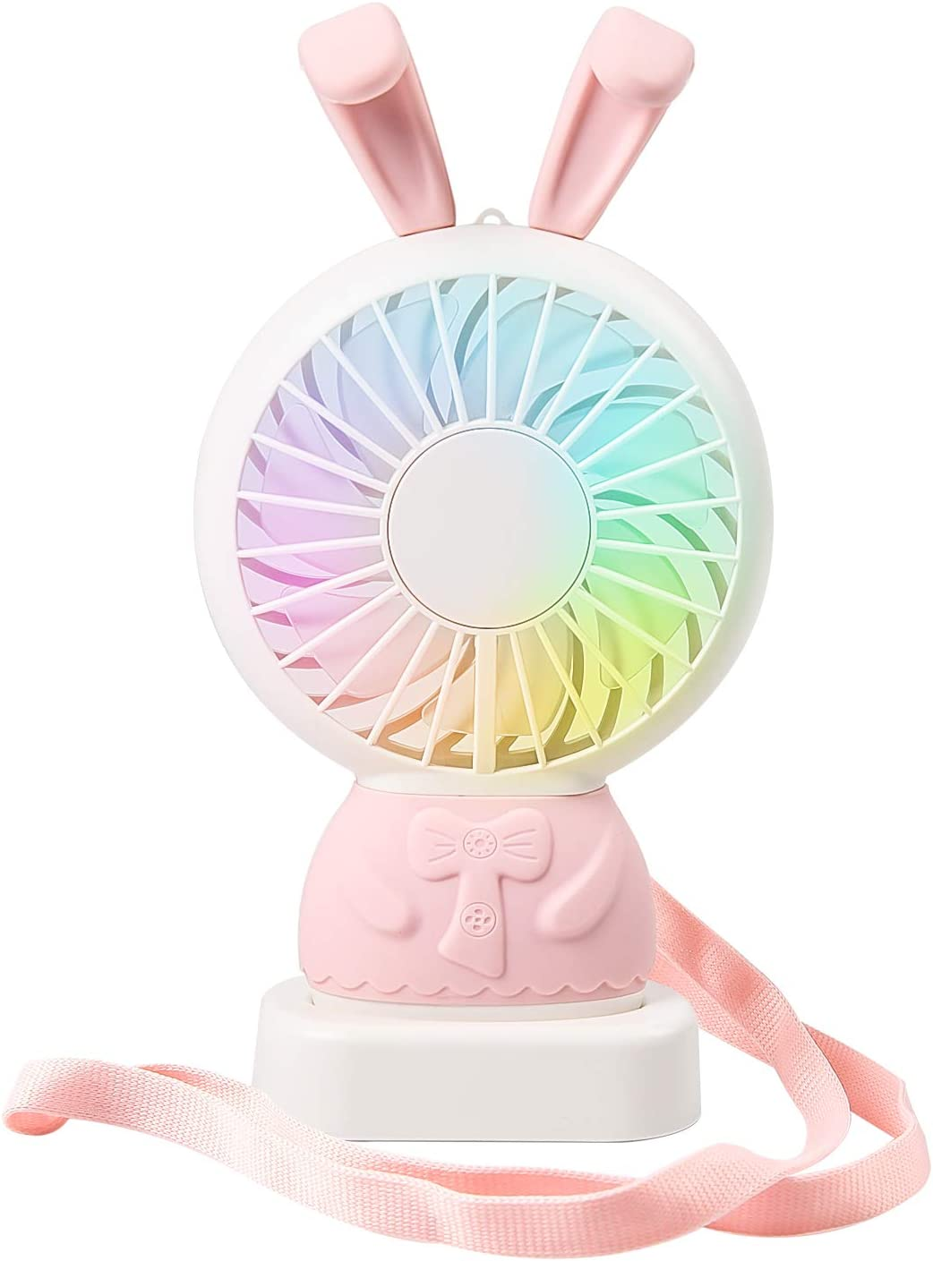 Mini Fan – Personal Handheld Portable Fan, Small Fan with Multi-Color LED Light 2 Adjustable Speeds Standing Base for House Travel Camping and Children Gifts – Pink Rabbit
