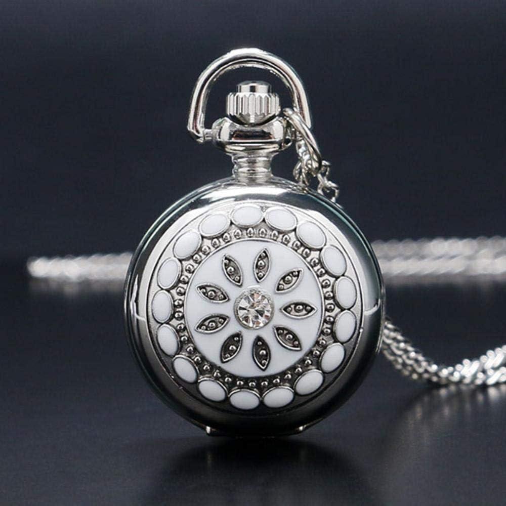dadi Cerámica Flor Cristal Pequeño tamaño Reloj de Bolsillo de Cuarzo Collar Colgante Mujer Señora Chica Regalo de cumpleaños