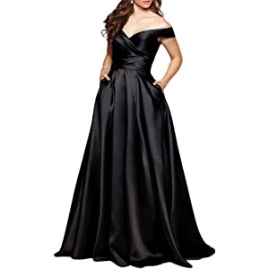 BEAUTBRIDE Womens Off Shoulder Long Prom Dress Evening Gown with Pocket BEPMD02