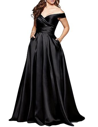 1f95b50c7c1e BEAUTBRIDE Women's Off Shoulder Long Prom Dress Evening Gown with Pocket Black  2