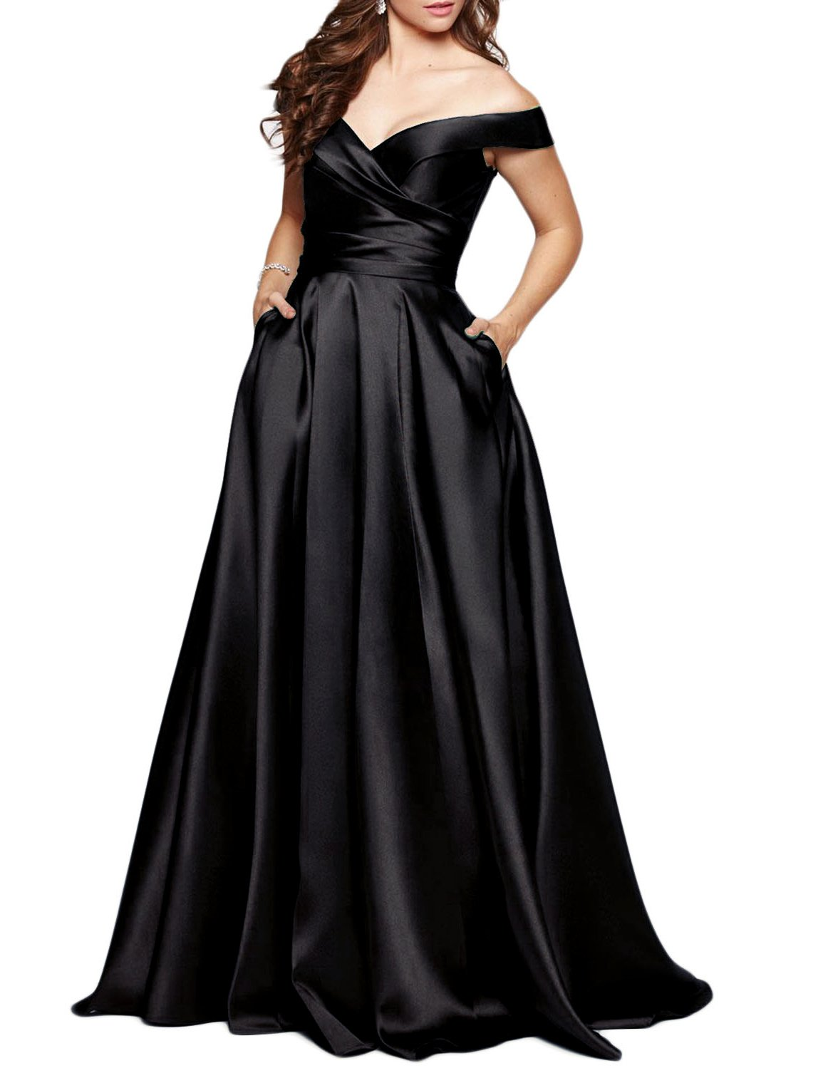 BEAUTBRIDE Women's Off Shoulder Long Prom Dress Evening Gown with Pocket Black 12