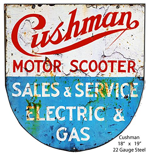 Garage Art Signs Cushman Motor Scooter Laser Cut Out Reproduction Metal Sign 18x19
