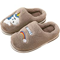 techcity Boys Girls Unicorn Slippers Cute Animal House Home Slippers for Kids Winter Warm Indoor Ourdoor Shoes, Anti-Skid (Toddler/Little Kid)