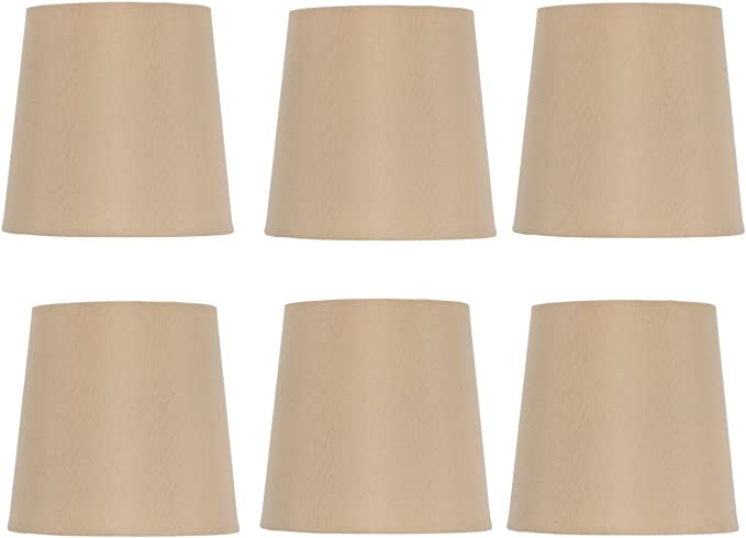 Clip on Lamp Shades Light Shades Candle Chandelier Lampshades for Ceiling Pendant Light Off 6 inch 6pcs Beige