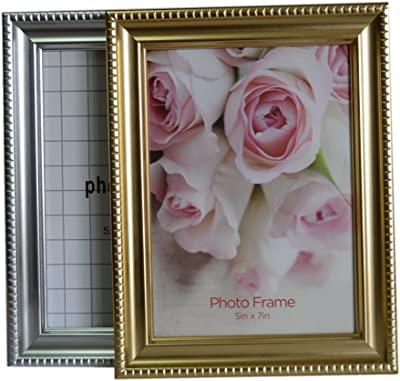 Gebihs 5x7 Picture Frame, Gold and Silver Available, for Table Top Display and Wall Decor, Classic Photo Frame (Gold+Silver)