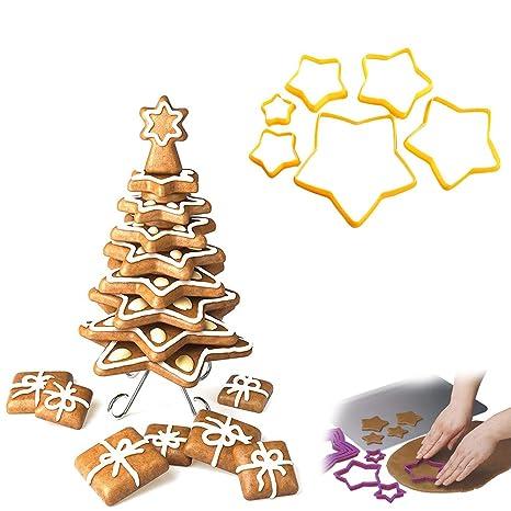 Biscotti Albero Di Natale 3d.Ouken Albero Di Natale 3d Cookie Cutters Gingerbread Cookie Cutter Set Stella Biscotti Cutters Cottura Strumenti Per Creare Il Proprio Albero Set Di