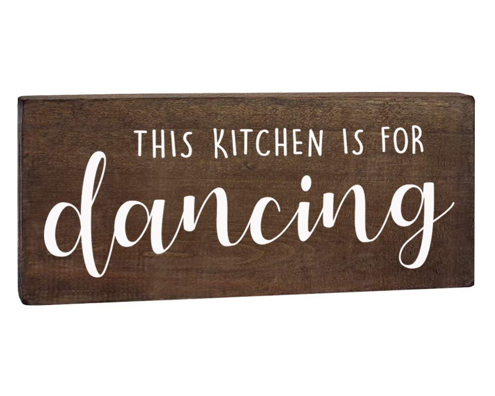 This Kitchen is for Dancing Sign - Farmhouse Wall Decor - 6x12 Rustic Wood Decoration with Saying by Elegant Signs