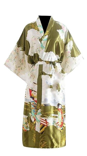 Mujer Kimono Verano Satín Albornoz Casual Elegantes Moda Cómodo Patrón Modernas Casual De Flores Batas Mangas 3/4 V-Cuello Pijama Camisones con Cinturón ...