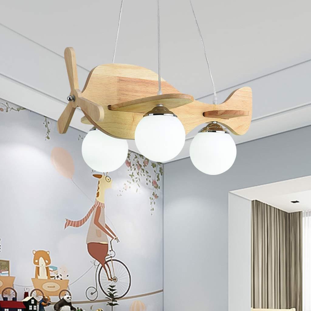 LXX-シーリングライト 木製子供用漫画航空機形状天井ランプリビングルームの寝室子供部屋の装飾照明シャンデリア (Color : A)  A B07SFZJFR7