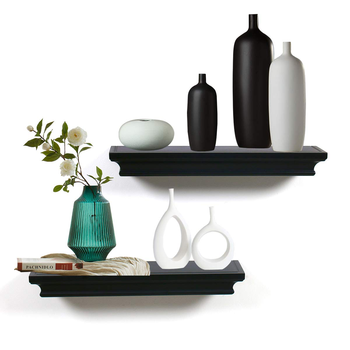 LightStan Floating Shelves Wall Mount, Modern Art Decorative Display Ledges for Living Room/Bedroom/Bathroom/Farmhouse - 4 Inches Deep Storage, Set of 2, Black