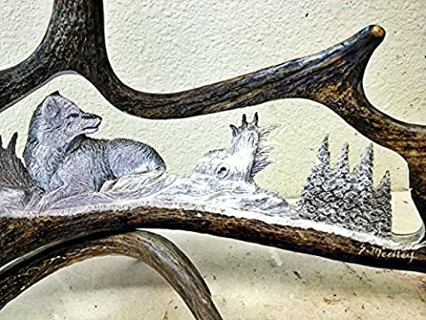 The Lone Wolf Moose Antler Carving - Antler Carving