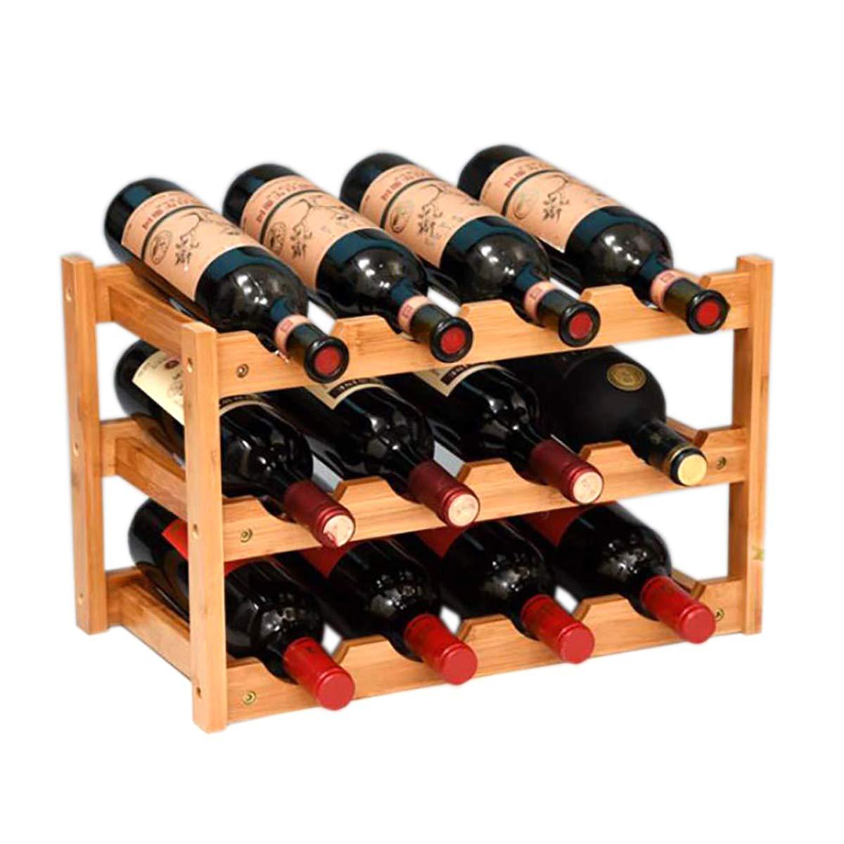 Riipoo 8-Bottle Wine Rack Free Standing and Countertop Stackable Wine Storage Shelf 2-Tier Nature Bamboo Wine Display Rack 8-Bottle