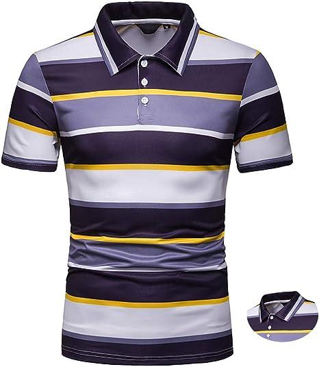 Adidase Camisa Polo a Rayas para Hombre, Camisa de Manga Corta en Contraste Solapa Camisa Polo: Amazon.es: Deportes y aire libre