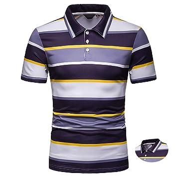 Adidase Camisa Polo a Rayas para Hombre, Camisa de Manga Corta en ...