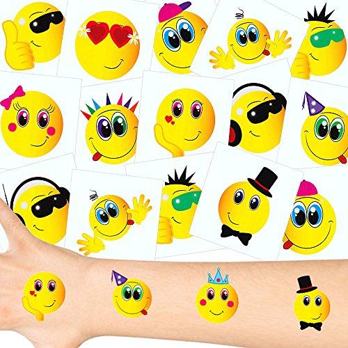 """German-Trendseller ® 12 x tatouages temporaires smiley┃tatouages ephémères┃l'anniversaire d'enfant┃petit cadeauâ"""""""