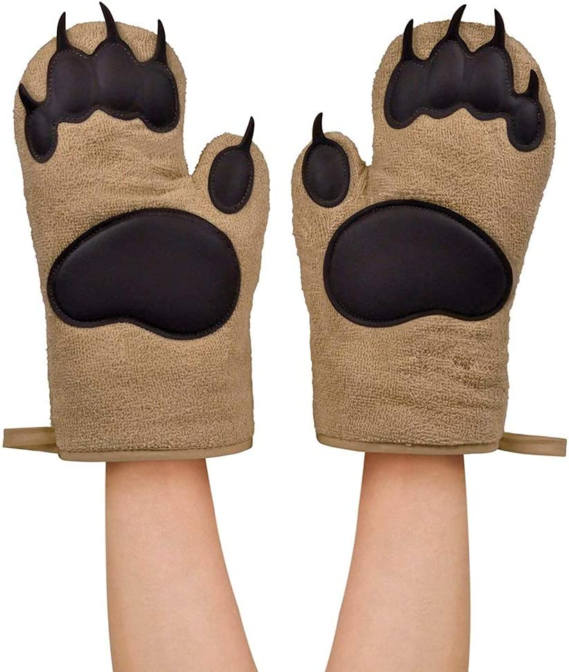 NewPinky Household Bear Paw Shape Insulated Silicone Anti-scalding Gloves Oven Mitts Kitchen Tool