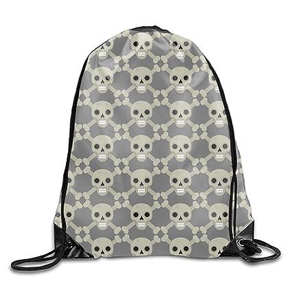 Amazon.com   Gym Sack Bag Skull And Bones Drawstring Backpack Sport Bag for  Men   Women School Travel Backpack   Drawstring Bags c34553fe16