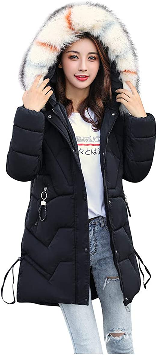 Leaf2you Down Jacket for Women Winter Hooded Outwear Parka Puffer Jacket Solid Thicken Quilted Down Coat with Faux Fur Hood