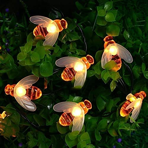 Honey Bees Lights, DINOWIN Bee String Lights Solar Power Honeybee Fairy String Lights Waterproof 30 LED for Outdoor Garden Summer Party Wedding Xmas Decoration Warm White
