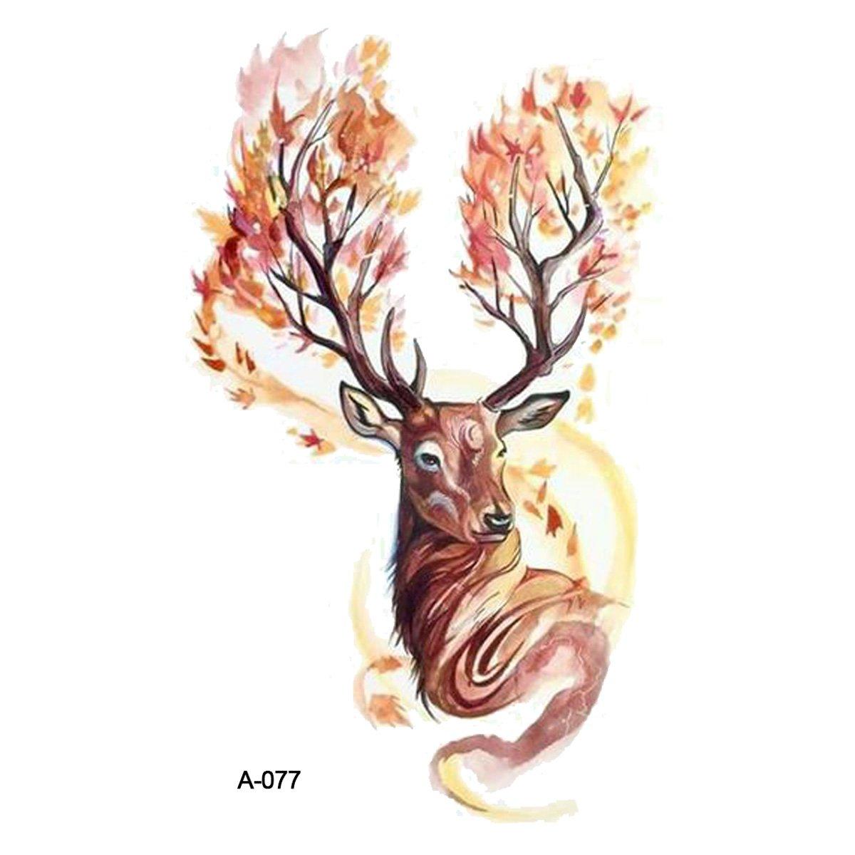 wyuen 5 hojas acuarela ciervos temporal Tattoo Sticker para ...