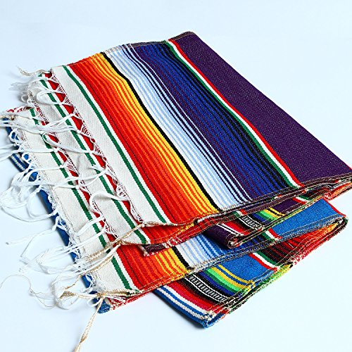 Aneco 2 Pack 14 by 84 Inch Mexican Table Runner Mexican Serape Blanket Cotton Colorful Fringe Table Runners for Mexican Party Wedding Kitchen Outdoor Decorations by Aneco (Image #3)'