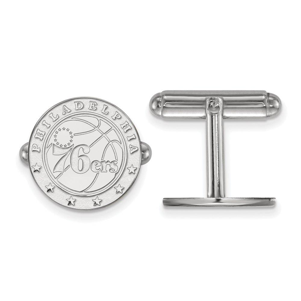 LogoArt NBA Philadelphia 76ers Cuff Links in Rhodium Plated Sterling Silver