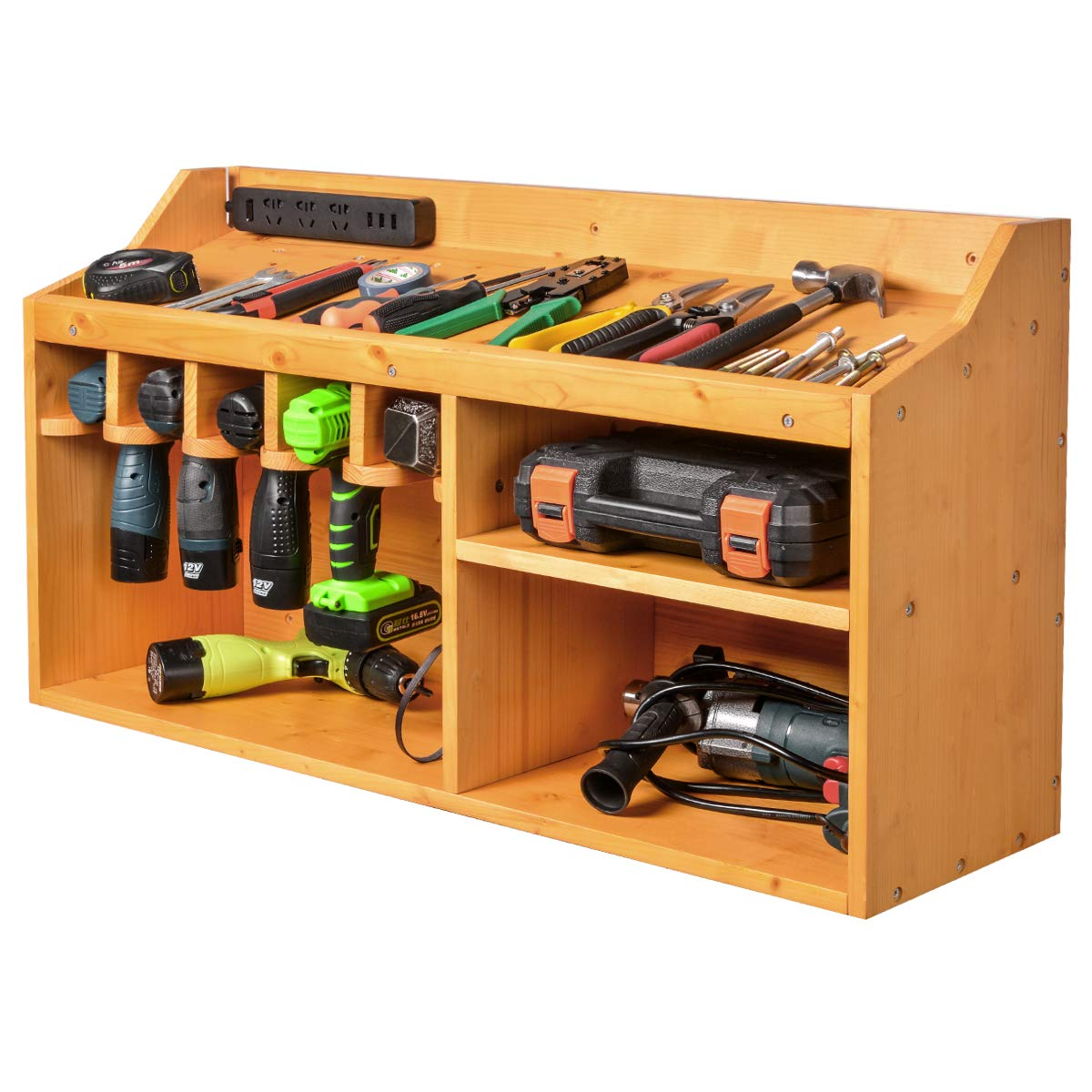 Power Tools Storage Organizers and Cabinets, Drill Charging Station, 5 Drill Hanging Slots, Wall Mount Impact Drivers Storage Dock with Widened Room for Circular Saw, Impact Wrench, Screwdriver Drill by XCSOURCE