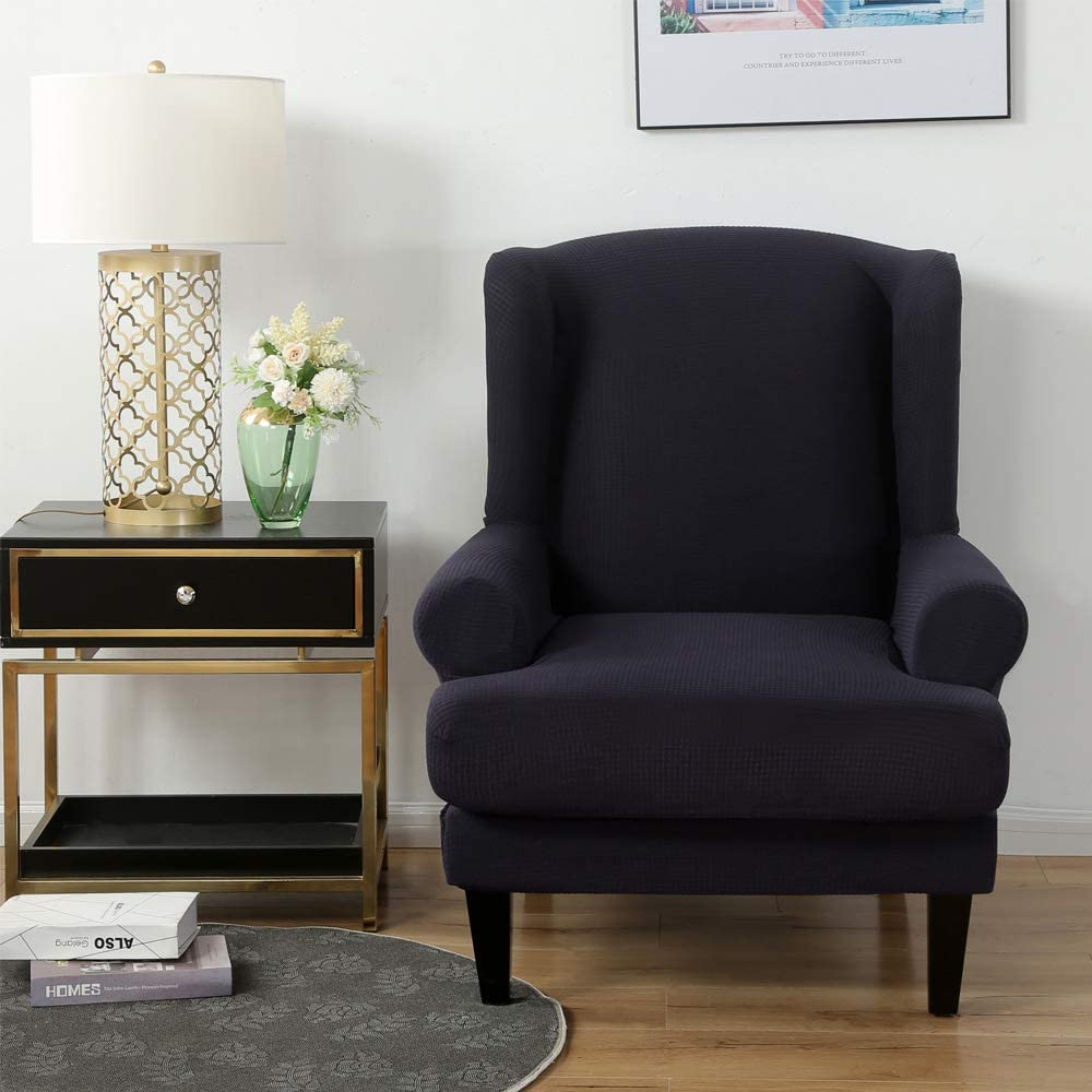 Youjoy Stretch Wingback Chair Slipcover 2-Piece Sofa Cover Furniture Protector Couch with Elastic Spandex Fabric Armchair Chair Slipcover,Navy: Kitchen & Dining