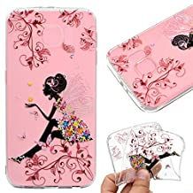 Galaxy S7 Edge Case,Galaxy S7 Edge Cover,Leeook Fashion Creative Transparent Butterfly Flower Girl Pattern Design Soft Ultra Thin TPU Silicone Protector Back Rubber Clear Flexible Slim Bumper Shell Mobile Phone Case Cover for Samsung Galaxy S7 Edge + 1 x Free Black Stylus